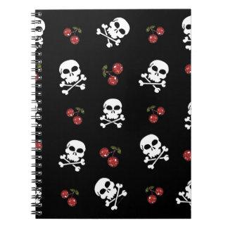RAB Rockabilly Skulls and Cherries on Black Spiral Notebook