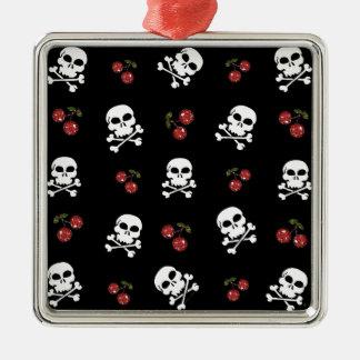 RAB Rockabilly Skulls and Cherries on Black Square Metal Christmas Ornament