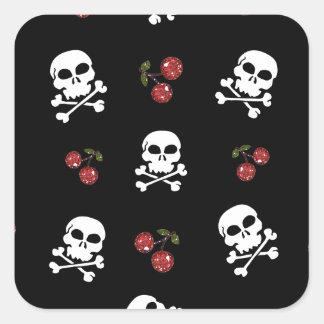 RAB Rockabilly Skulls and Cherries on Black Square Sticker