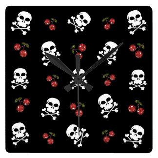RAB Rockabilly Skulls and Cherries on Black Square Wallclocks