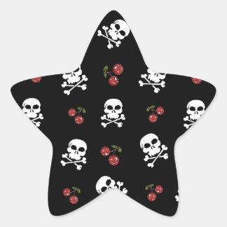 RAB Rockabilly Skulls and Cherries on Black Star Sticker