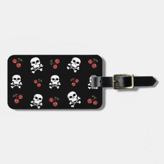 RAB Rockabilly Skulls and Cherries on Black Travel Bag Tag