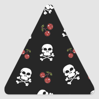 RAB Rockabilly Skulls and Cherries on Black Triangle Sticker