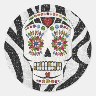 RAB Rockabilly Sugar Skull on Zebra Print Classic Round Sticker