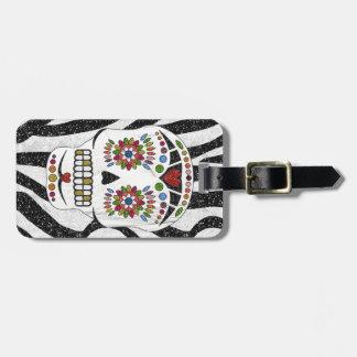 RAB Rockabilly Sugar Skull on Zebra Print Luggage Tag
