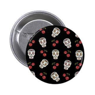 RAB Rockabilly Sugar Skulls Cherries On Black 2 Inch Round Button