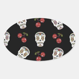 RAB Rockabilly Sugar Skulls Cherries On Black Oval Sticker