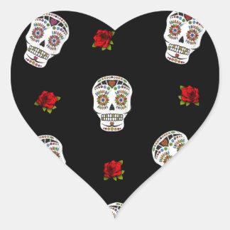 RAB Rockabilly Sugar Skulls Roses On Black Heart Sticker