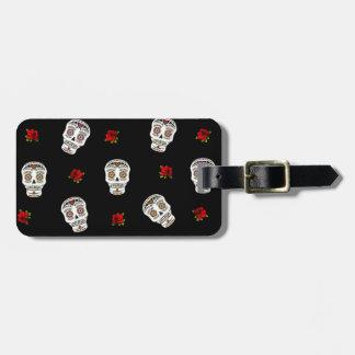 RAB Rockabilly Sugar Skulls Roses On Black Luggage Tag