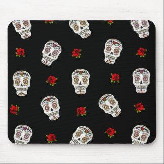 RAB Rockabilly Sugar Skulls Roses On Black Mouse Pad