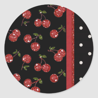 RAB Rockabilly Very Cherry Cherries Black Classic Round Sticker