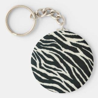 RAB Rockabilly Zebra Print Black & White Basic Round Button Keychain