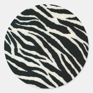 RAB Rockabilly Zebra Print Black & White Classic Round Sticker