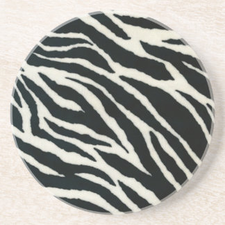 RAB Rockabilly Zebra Print Black & White Coaster