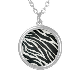RAB Rockabilly Zebra Print Black & White Round Pendant Necklace