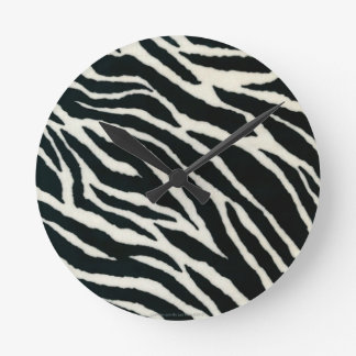 RAB Rockabilly Zebra Print Black & White Round Wallclocks