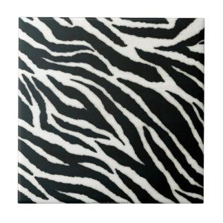 RAB Rockabilly Zebra Print Black & White Small Square Tile
