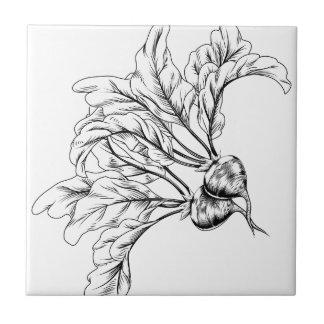 Rábano o remolachas retro del grabar en madera del azulejo cerámica