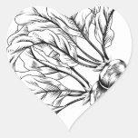 Rábano o remolachas retro del grabar en madera del calcomania de corazon personalizadas