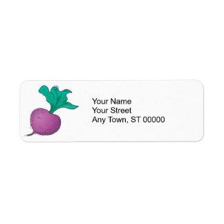 rábano púrpura etiqueta de remite