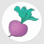 rábano púrpura etiquetas redondas
