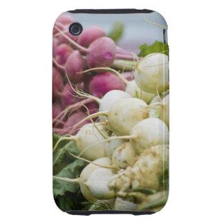 Rábanos en la exhibición en el mercado del granjer tough iPhone 3 carcasas