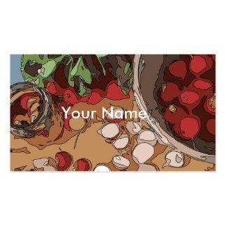 Rábanos jugosos y patata asada a la parrilla tarjetas de visita