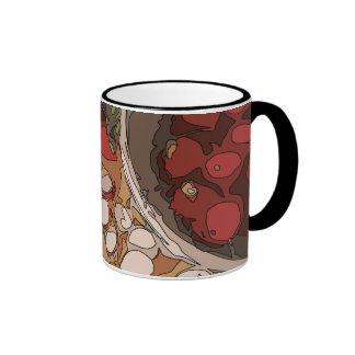 Rábanos jugosos y patata asada a la parrilla taza de café