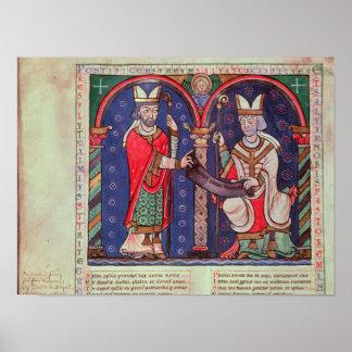 Rabanus Maurus offering his Book Poster
