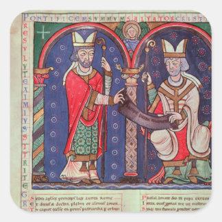 Rabanus Maurus offering his Book Square Sticker