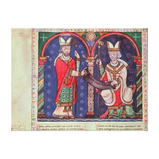 Rabanus Maurus que ofrece su libro Impresión En Lienzo Estirada