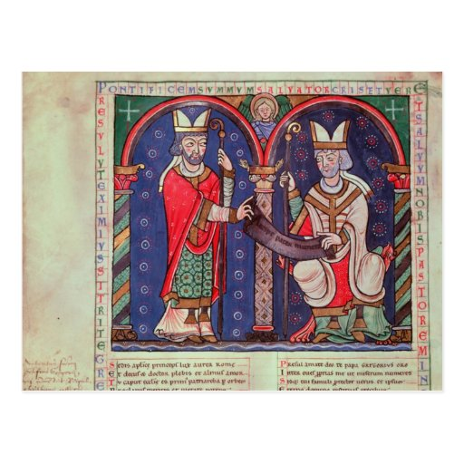 Rabanus Maurus que ofrece su libro Postal