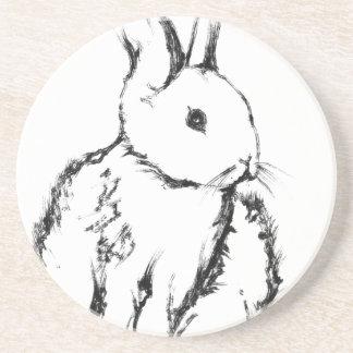 rabbit01 sandstone coaster