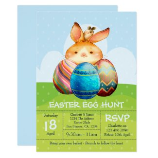 Rabbit and Baby Bunny Easter Egg Hunt Brunch Invitation