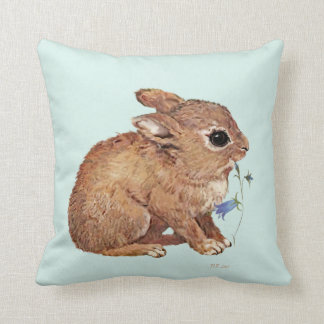 Rabbit and Bluebell Throw Pillow