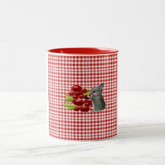 rabbit and blueberries Two-Tone coffee mug