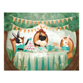 Rabbit and Cats Forest Tea Party Letterhead