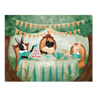 Rabbit and Cats Forest Tea Party Postcard
