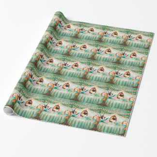 Rabbit and Cats Forest Tea Party Wrapping Paper