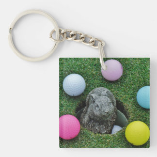 Rabbit and colored Golf Balls Key Chains