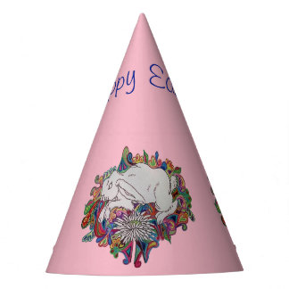 rabbit and daisy pink Easter party hat