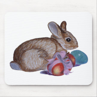 Rabbit And Easter Eggs Painting Mousepad