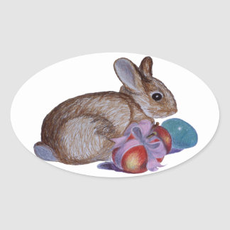 Rabbit And Easter Eggs Painting Oval Stickers