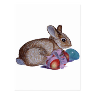 Rabbit And Easter Eggs Painting Postcard