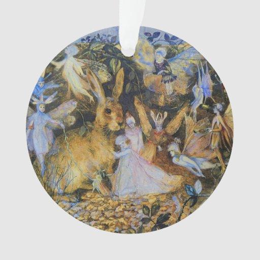 Rabbit and fairies vintage fairy tale art.
