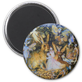Rabbit and fairies vintage fairy tale art. magnets