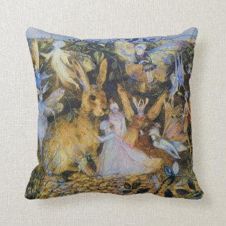 Rabbit and fairies vintage fairy tale art. throw pillow