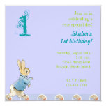 "Rabbit and Friends Birthday 5.25"" Square Invitation Card"