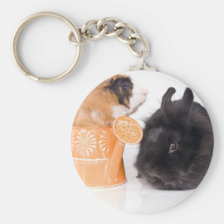 rabbit and guinea pig basic round button keychain