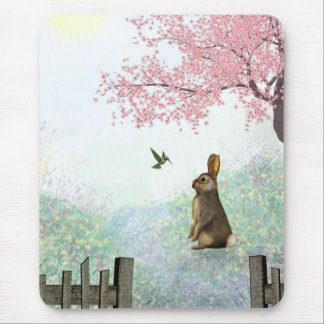 Rabbit and Hummingbird - Spring or Easter Mouse Pad